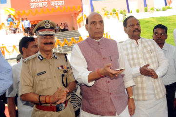 The Union Home Minister, Shri Rajnath Singh inaugurating the New Terminal of Jharkhand Jaguar head quarter, at Tendergram Village, Ratu, in Ranchi on June 27, 2016. The Chief Minister of Jharkhand, Shri Raghubar Das and the Director General of Police (DGP), Shri D.K. Pandey are also seen.