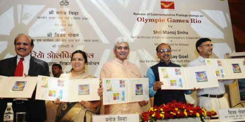The Minister of State for Communications (Independent Charge) and Railways, Shri Manoj Sinha releasing a Commemorative Postage Stamp on Rio Olympic Games, in New Delhi on August 05, 2016. The Minister of State for Youth Affairs and Sports (I/C), Water Resources, River Development and Ganga Rejuvenation, Shri Vijay Goel, the Secretary, Ministry of Youth & Sports, Shri Rajiv Yadav and other dignitaries are also seen.