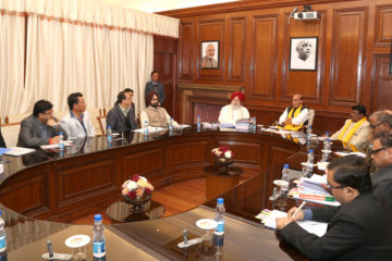 The Union Home Minister, Shri Rajnath Singh chairing a meeting with the delegation of Gorkhaland Territorial Administration (GTA), in New Delhi on December 15, 2016.   The Union Minister for Tribal Affairs, Shri Jual Oram, the Minister of State for Agriculture & Farmers Welfare and Parliamentary Affairs, Shri S.S. Ahluwalia and senior officers of the Ministry of Home Affairs, Ministry of Human Resource Development and Ministry of Panchayati Raj are also seen.