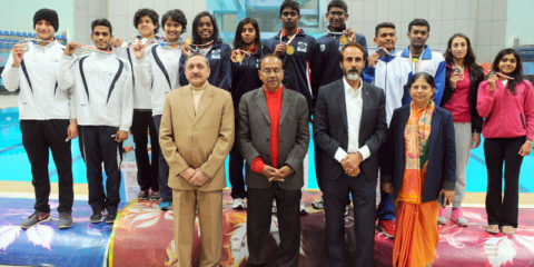 The Minister of State for Youth Affairs and Sports (I/C), Water Resources, River Development and Ganga Rejuvenation, Shri Vijay Goel at the inauguration of the Khelo India National Level Competitions, in New Delhi on January 15, 2017.
