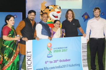 The Minister of State for Youth Affairs and Sports (I/C), Water Resources, River Development and Ganga Rejuvenation, Shri Vijay Goel attending the FIFA U-17 World Cup Promotional, in New Delhi on May 15, 2017. The Minister of State for Heavy Industries & Public Enterprises, Shri Babul Supriyo is also seen.